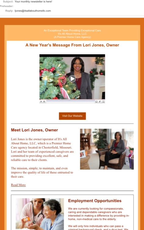 Email Marketing Campaign/Newsletter (It's All About Home, LLC)